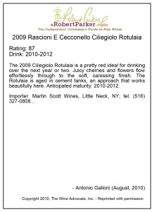 Rotulaia 2009 Wine Advocate